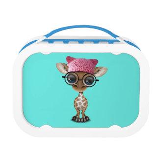 Cute Baby Giraffe Wearing Pussy Hat Lunch Box