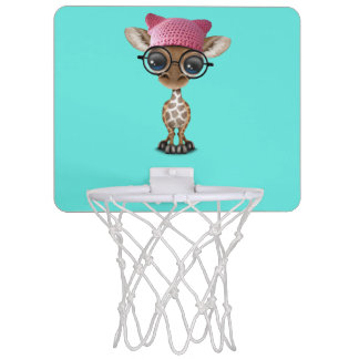 Cute Baby Giraffe Wearing Pussy Hat Mini Basketball Hoop