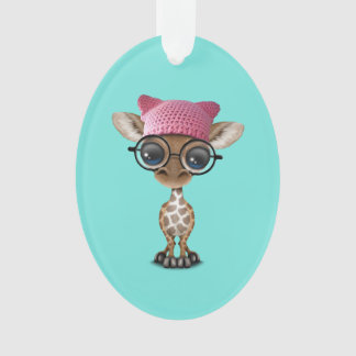 Cute Baby Giraffe Wearing Pussy Hat Ornament