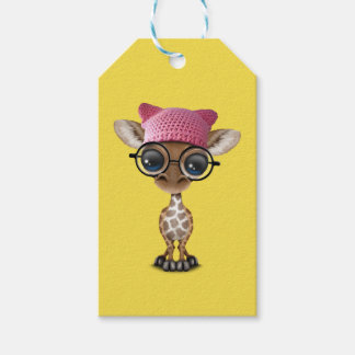 Cute Baby Giraffe Wearing Pussy Hat Pack Of Gift Tags