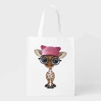 Cute Baby Giraffe Wearing Pussy Hat Reusable Grocery Bag