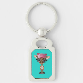 Cute Baby Giraffe Wearing Pussy Hat Silver-Colored Rectangle Keychain