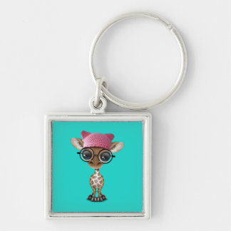 Cute Baby Giraffe Wearing Pussy Hat Silver-Colored Square Keychain