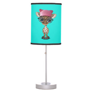 Cute Baby Giraffe Wearing Pussy Hat Table Lamp