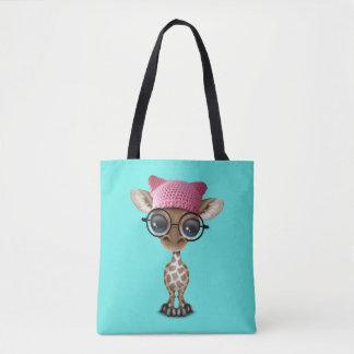Cute Baby Giraffe Wearing Pussy Hat Tote Bag