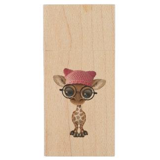 Cute Baby Giraffe Wearing Pussy Hat Wood USB 3.0 Flash Drive