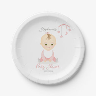 Cute Baby Girl and her Mobile Baby Shower Paper Plate