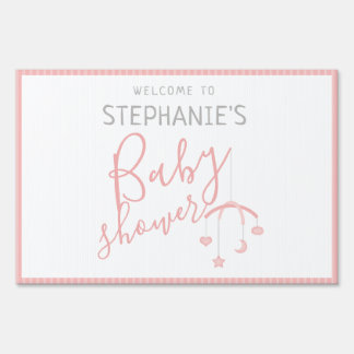 Cute Baby Girl and her Mobile Baby Shower Sign