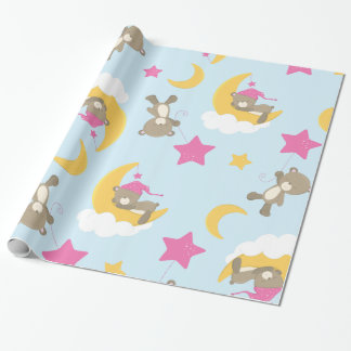 Cute Baby Girl Bear Pattern Print Wrapping Paper