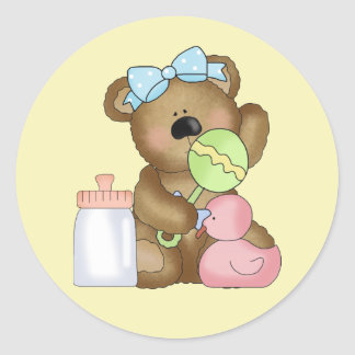 Cute Baby Girl Bear with Baby Bottle and Rattle. Classic Round Sticker