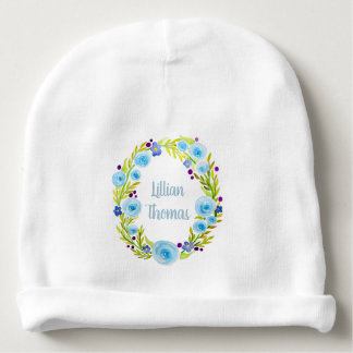 Cute Baby Girl Blue Watercolor Flower Wreath Name Baby Beanie