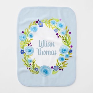 Cute Baby Girl Blue Watercolor Flower Wreath Name Burp Cloth