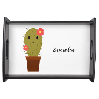 Cute baby girl cactus serving tray