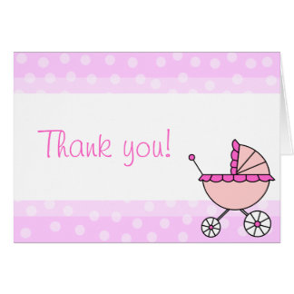 Cute Baby Girl Carriage Design Thank You Cards