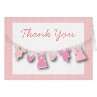 Cute Baby Girl Clothes on the LIne Thank You Card