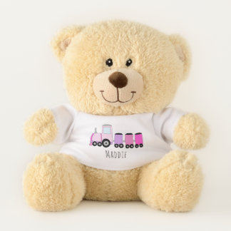 Cute Baby Girl Doodle Pink Train with Name Teddy Bear