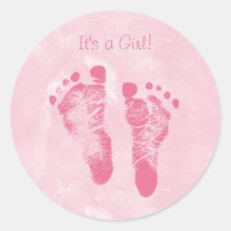 Cute Baby Girl Footprints Birth Announcement Classic Round Sticker