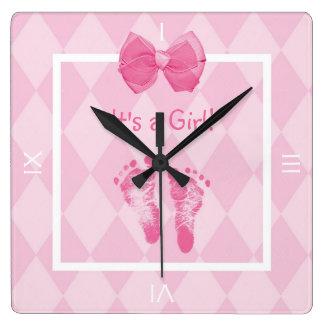 Cute Baby Girl Footprints Birth Announcement Square Wall Clock
