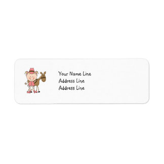 Cute Baby Girl & Horse Pony Custom Western Return Address Label