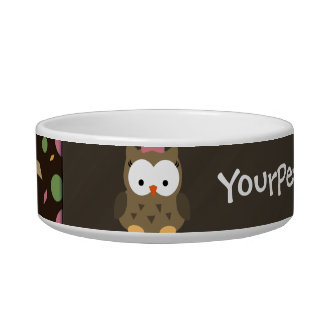 Cute Baby Girl Owl, Pink/Green/Brown Bowl