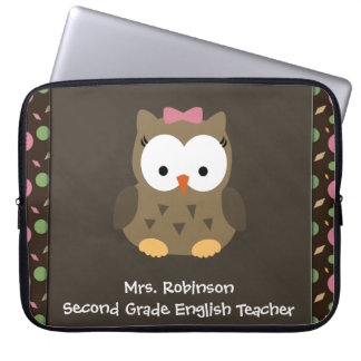 Cute Baby Girl Owl, Pink/Green/Brown Computer Sleeves