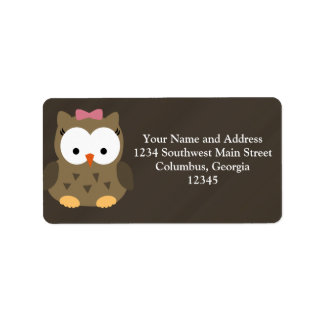 Cute Baby Girl Owl with Pink Bow Address Label