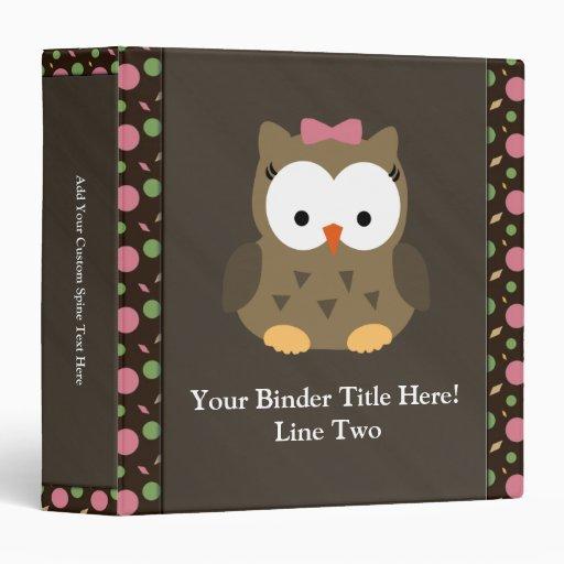Cute Baby Girl Owl with Pink Bow Vinyl Binders