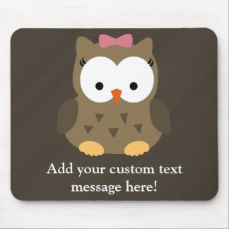 Cute Baby Girl Owl with Pink Bow Mousepad