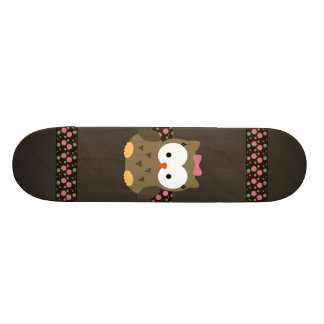 Cute Baby Girl Owl with Pink Bow Skateboard