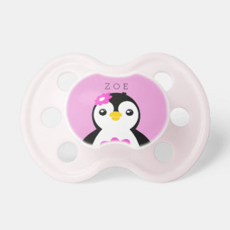 Cute Baby Girl Penguin with Pink Flower Pacifier