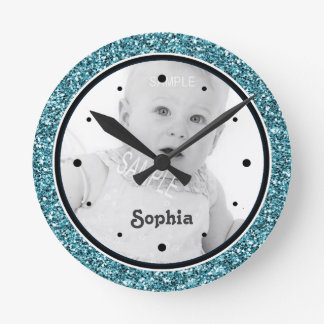 Cute Baby Girl Photo Blue Glitter Look Round Clock