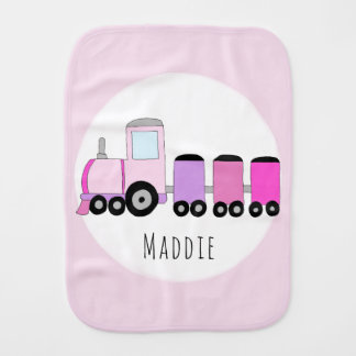 Cute Baby Girl Pink Purple Doodle Train with Name Burp Cloth