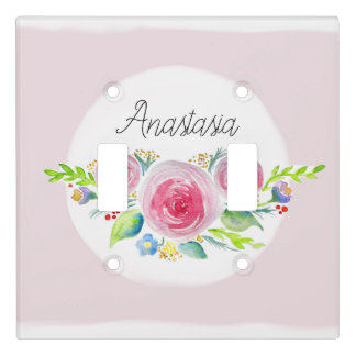 Cute Baby Girl Pink Watercolor Flower Name Nursery Light Switch Cover