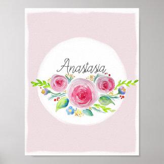 Cute Baby Girl Pink Watercolor Flower Name Nursery Poster