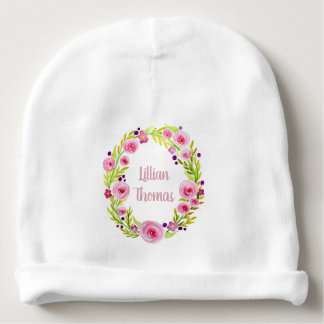 Cute Baby Girl Pink Watercolor Flower Wreath Name Baby Beanie