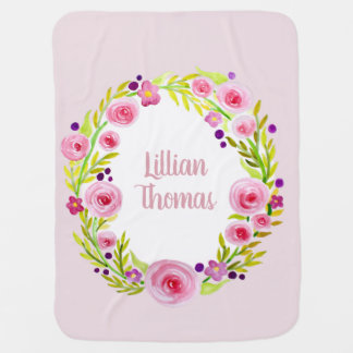Cute Baby Girl Pink Watercolor Flower Wreath Name Baby Blanket