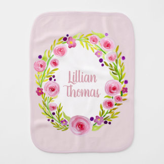 Cute Baby Girl Pink Watercolor Flower Wreath Name Burp Cloth