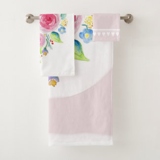 Cute Baby Girl Pink Watercolor Flowers with Name Bath Towel Set