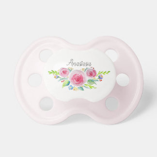 Cute Baby Girl Pink Watercolor Flowers with Name Pacifier