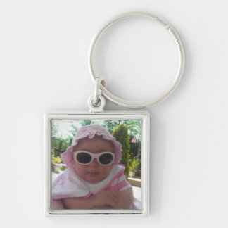 Cute Baby Girl Silver-Colored Square Keychain