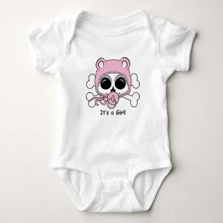 Cute Baby Girl Skull Baby Bodysuit