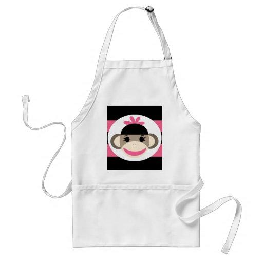 Cute Baby Girl Sock Monkey Black Pink Stripes Apron