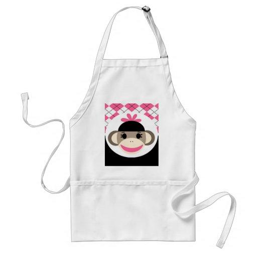 Cute Baby Girl Sock Monkey Pink Black Argyle Apron
