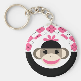 Cute Baby Girl Sock Monkey Pink Black Argyle Basic Round Button Keychain