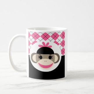 Cute Baby Girl Sock Monkey Pink Black Argyle Basic White Mug