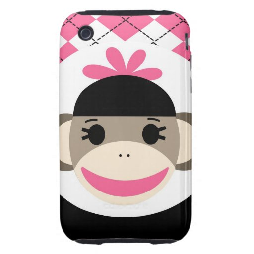 Cute Baby Girl Sock Monkey Pink Black Argyle Tough iPhone 3 Covers
