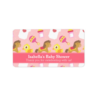 Cute Baby Girl Toys, Baby Shower Party Favor Label