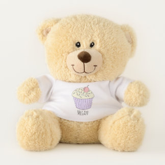 Cute Baby Girl's Doodle Cupcake Muffin with Name Teddy Bear