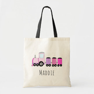 Cute Baby Girl's Locomotive Train and Name Tote Bag