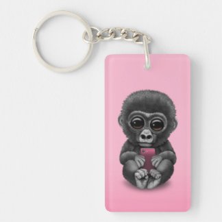 Cute Baby Gorilla Holding a Cell Phone Pink Double-Sided Rectangular Acrylic Keychain